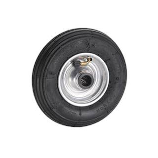 Gummi Luftrad 200 x 50 mm Bohrung 20 mm 75kg Felge silber Stahl Rillenprofil