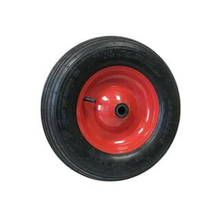 Schubkarre Rad 400 x 100 mm Bohrung 20 mm 250kg Felge rot Stahl Rillenprofil