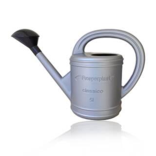 Gießkanne Classico 5 Liter silber Kanne Kunststoff Gießer mit Brause abnehmbar