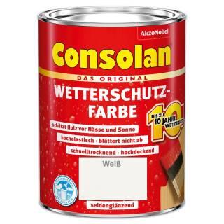 Consolan Wetterschutzfarbe 2,5 l Weiß Deckend Außen Dauer Holzschutz