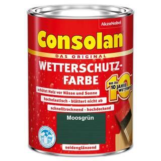 Consolan Wetterschutzfarbe 2,5 l Moosgrün Deckend Außen Dauer Holzschutz