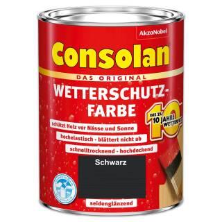 Consolan Wetterschutzfarbe 2,5 l Schwarz Deckend Außen Dauer Holzschutz