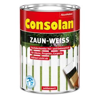 Consolan Zaun-Weiß 2,5 l Außen Holzschutz Grundierung Beschichtung Farbe Deckend