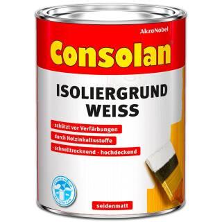 Consolan Isoliergrund Weiß 5 l Außen Sperrgrund Grundierung Holzgrund Deckend