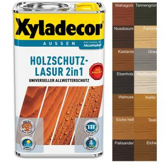 Xyladecor Holzschutzlasur 2 in1 Außen Imprägnierung Farbe Grundierung 0,75 Liter