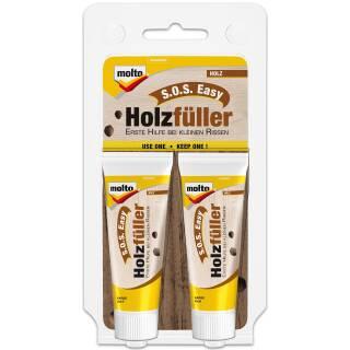 Molto S.O.S Holzfüller 2 x 20 ml Spachtelmasse Füller Reparatur Spachtel Risse