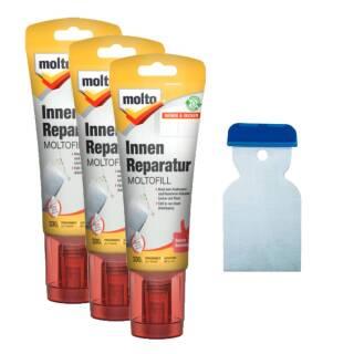 Set: 3x Molto 5087714 Reparatur Moltofill Innen 330g +Metallspachtel