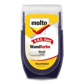 Molto SOS Easy Wandfarbe Farbroller weiß matt 30 ml zum Ausbessern von Wand- und Deckenflächen