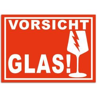 300x Aufkleber Vorsicht Glas Din A6 (105x148 mm) Alternative zu Vorsicht Glas Klebeband Bruchgefahr Warnetiketten Zerbrechlich