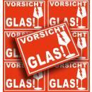 300x Aufkleber Vorsicht Glas Din A6 (105x148 mm)...