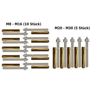 Verbundanker Set M8-M30 / 110-380 mm Ankerstange + Verbundankerpatrone M8-M30 (5/10 Stück)