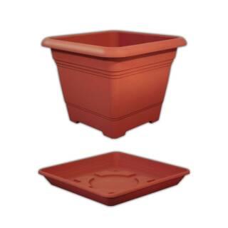 Geli Nora Set Pflanztopf Pflanzkübel und Untersetzer terracotta ca. 23 cm Größe 1