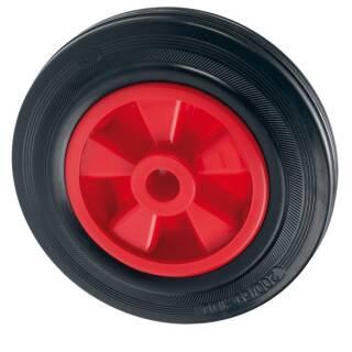 Vollgummi-Rad 200x50x20 mm Gl, Nabe 58mm Kunststoff Felge rot, Reifen schwarz