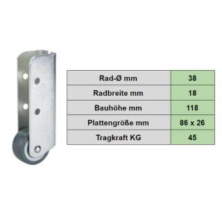 Bockrolle mit Softrad, Rad-Ø 38 mm , 18 mm , Tragkraft 45 kg
