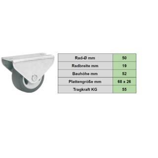 Parkett-Bockrolle 50 x 19 mm, TPE-Rad, weiche Laufbahn, Möbelrolle, Transportrolle, Parkettrolle, Seitenrolle