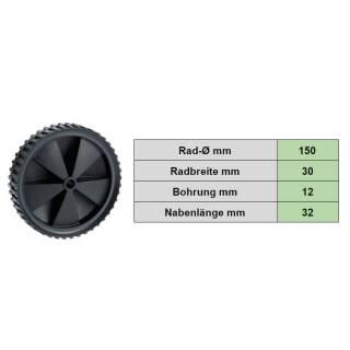 PVC-Rad 150x30x12 mm Stollenprofil schwarz Tragkraft 25 kg Kunststoffrad PVC
