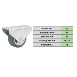 Parkett-Bockrolle 30 x14 mm, TPE-Rad, weiche Laufbahn, Möbelrolle, Transportrolle, Parkettrolle, Seitenrolle