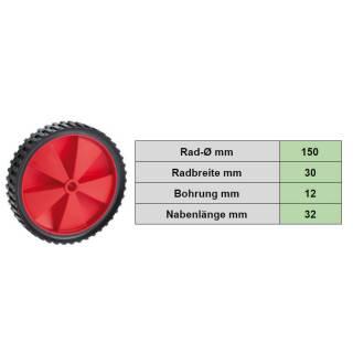 PVC-Rad 150x30x12 mm Gleitlager Stollenprofil Nabe 32 mm  rot Tragkraft 25 kg