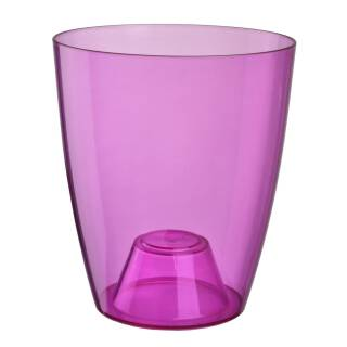 Orchideentopf Ornella Klarsichtcontainer Blumentopf Pflanztopf Übertopf 15cm Transparent violett Kunststoff