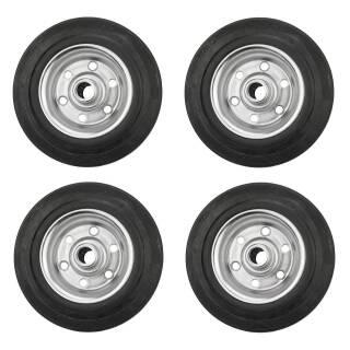 4er Set Vollgummi-Rad 140x37x15 mm Rola Nabe 44 mm, Stahlfelge, schwarz