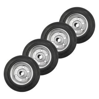 4er Set Vollgummi-Rad 80x25x12 mm Rola Nabe 40 mm, Stahlfelge, schwarz
