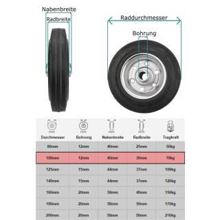 Vollgummi-Rad 100x30x12 mm Rola Nabe 40 mm, Stahlfelge, schwarz, pannensicher