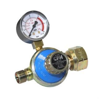 """CFH Druckregler 3/8"""" / 1-4 Bar mit Manometer für Abflammgeräte Anwärmbrenner Propangasflaschen DR115"""