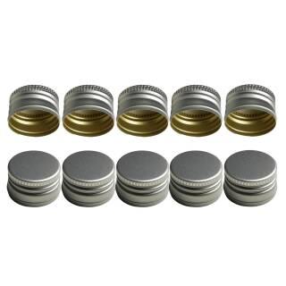 10er Set PP28 Schraubverschluss silber - ALU mit Gewinde