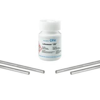 CFH Set Stangenlötzinn Zinkblech bleifrei 4 Stangen und Lötwasser 100g Spezialflussmittel