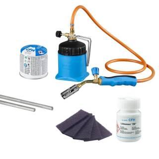 CFH Set Lötlampe LM3000 + Stangenlötzinn Zinkblech + Lötwasser Zinkblech + Vlies