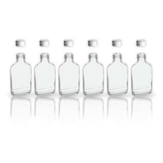 6 Glasflaschen 200ml mit Schraubverschluss Deckel + 2 Mini Trichter / 20cl