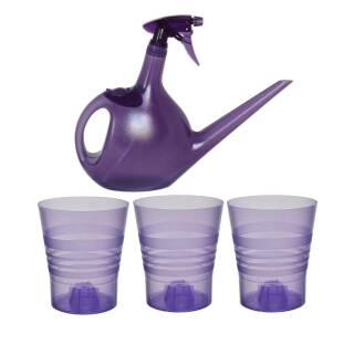 Pflanzset 3x Orchideentopf Orchid 15cm Kunststoff violett + 1x Handdruckkanne Spraycan lila