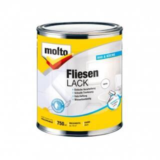 Molto FLIESENLACK 750ml Fliesenfarbe Lack Fliesen streichen Küche Bad WC weiß
