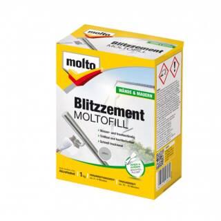 Molto BLITZZEMENT MOLTOFILL GRAU 1kg Spachtelpulver Zement Mörtel Außen Innen