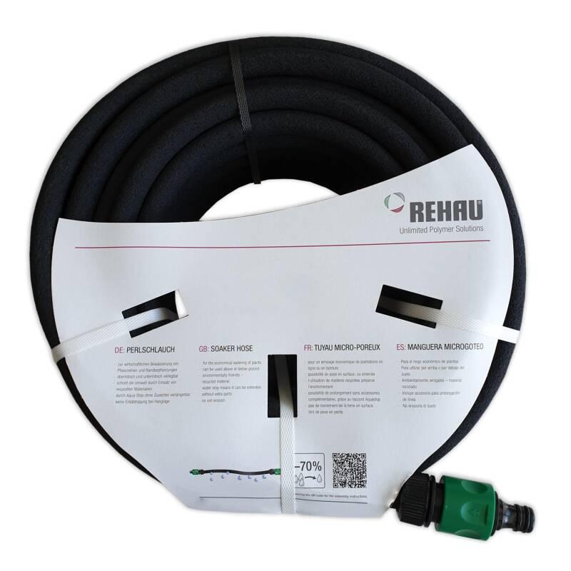 REHAU Set Perlschlauch Tropfschlauch 15m Verbinderset Bewässerungsschlauch